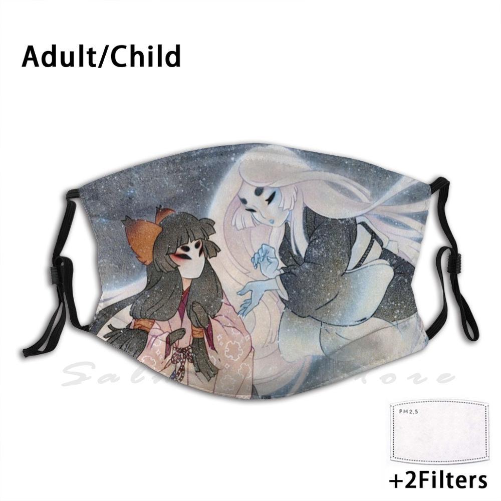 Моющийся фильтр с принтом Yuki Onna Kitsune Yurei Yokai маска для рта от пыли Yukionna Fox Snow|Мужские