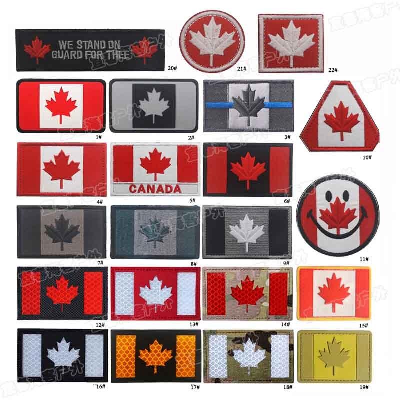 Parches bordados de Canadá IR infrarrojos reflectante insignia de PVC emblema ejército militar DIY accesorio gancho y lazo táctico moral