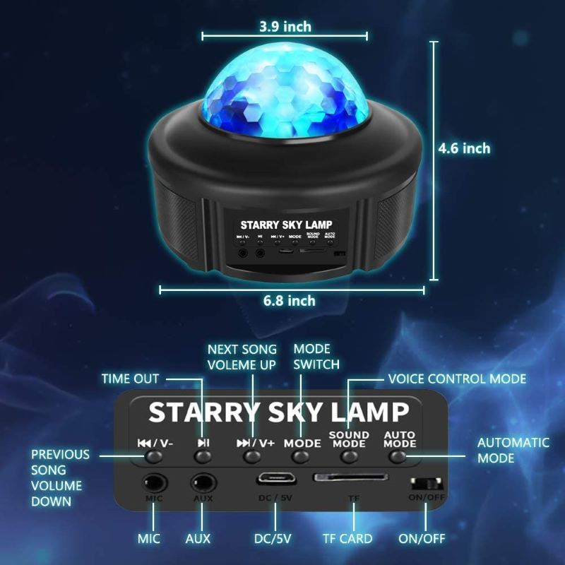 LED Projector Lamps Star Night Light Music Starry Water Wave Galaxy Lamp For Bedroom Bedside Decoration Lamp Gift Dropshipping enlarge