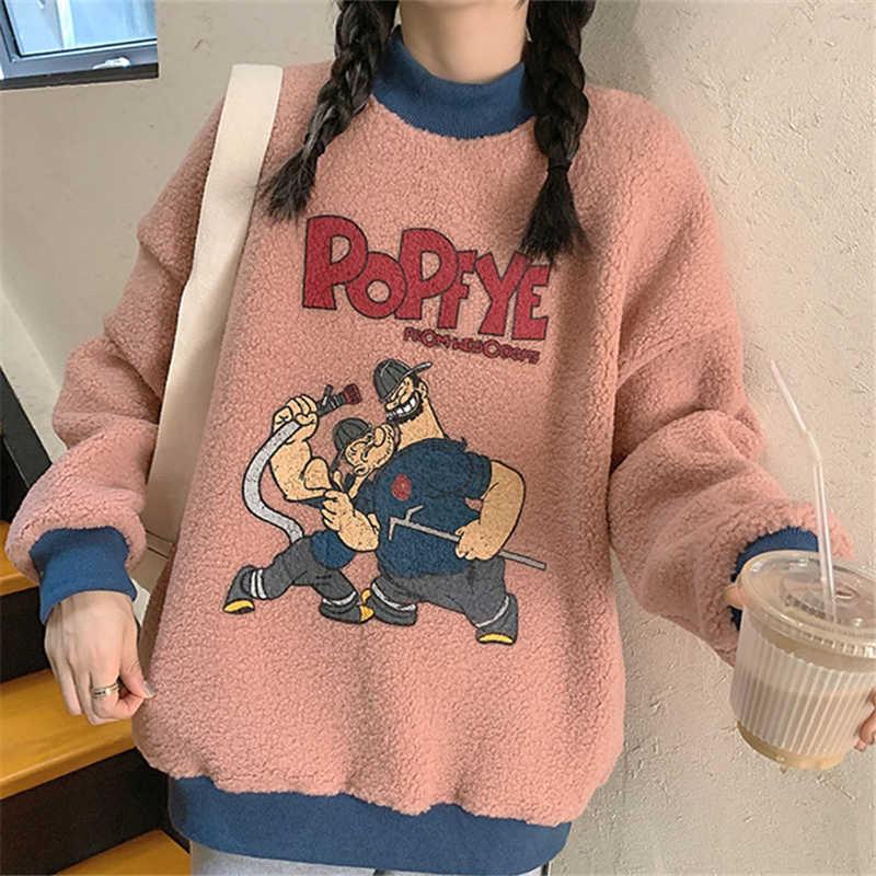 Lamb Wool Best-Selling Sweatshirt Women's Winter Ins Loose Korean Style Boyfriend Idle Style plus Ve