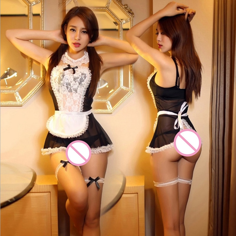 Traje de empregada francesa sexy lingerie feminina erótica mini vestido sexy cosplay transparente sleepwear porno sexo ver através de roupa interior