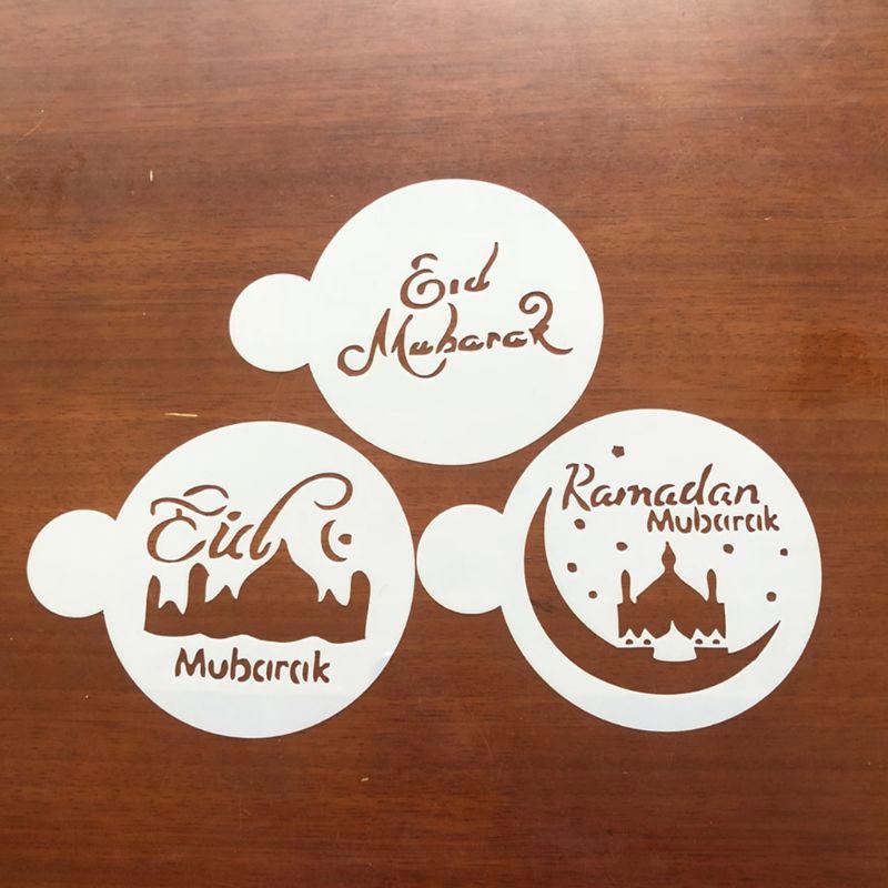3 unids/set Eid Mubarak Ramadan café aerosol para flores plantillas Mesquita galleta molde para hornear pasteles decoración manualidades pastel-decorar
