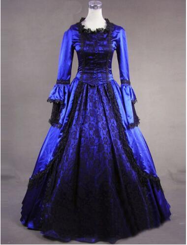 Azul/negro de manga larga de encaje volantes siglo XVIII rococó/georgiano gótico victoriano Lolita vestido para Halloween