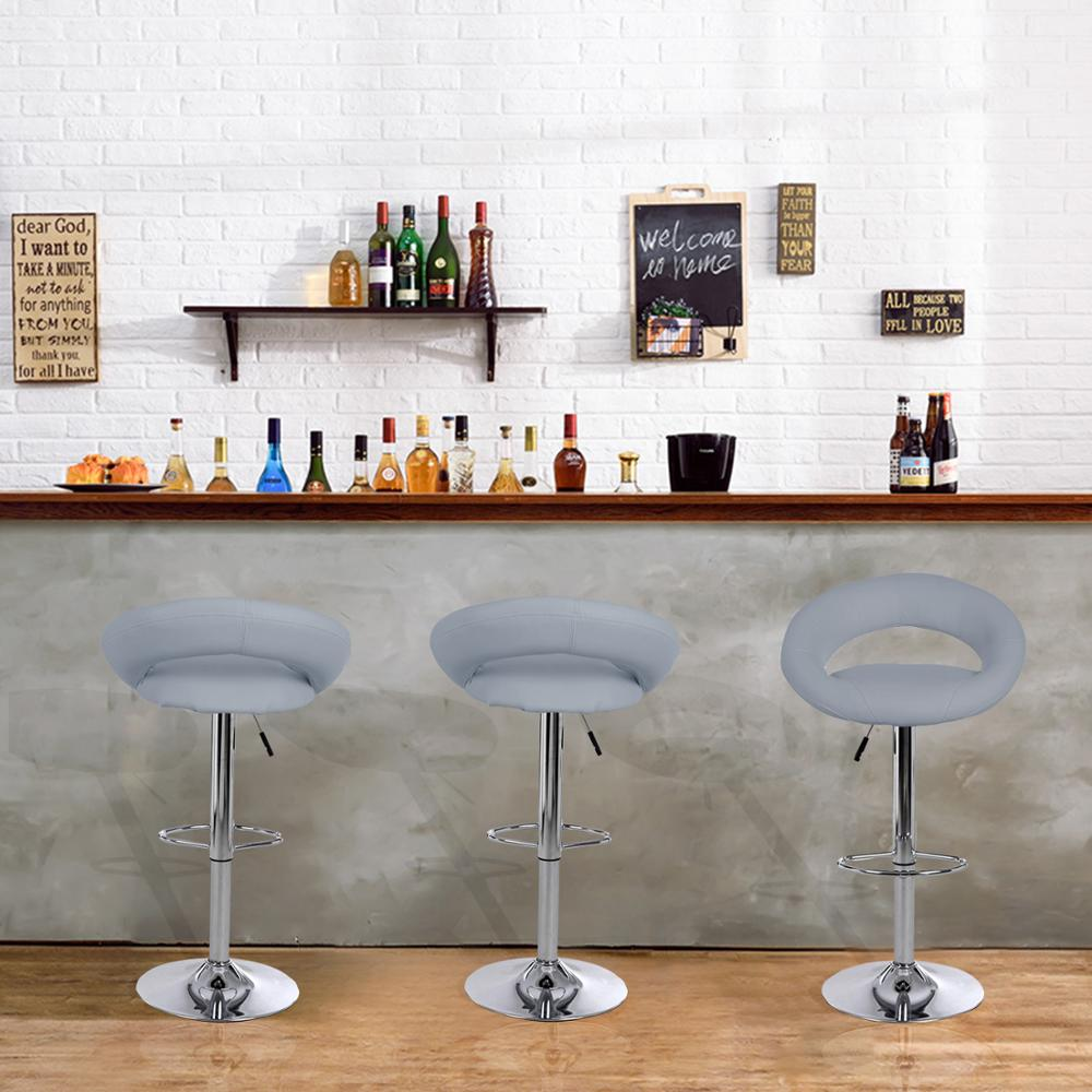 Bar Stools Set of 2 Faux Leatherr White Dinning Chairs,Bar Chairs With 360 Degree Swivel Adjustable Height(Grey)