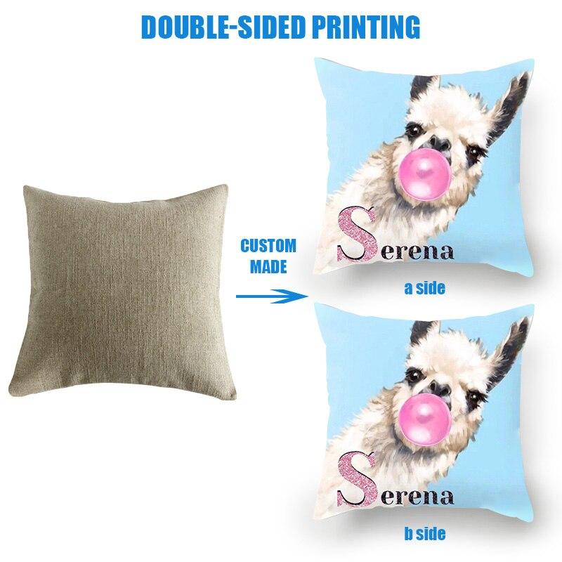 Чехол для подушки Fuwatacchi Animal Child Personal Customization, наволочка для подушки на заказ, льняная наволочка с принтом, фото, 45 см * 45 см