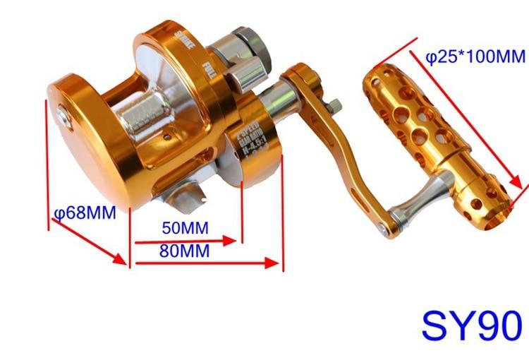 WOEN CNC all metal Drum Trolling wheel SY70/90 Single speed deep sea Boat fishing Iron wheel 30KG braking force enlarge