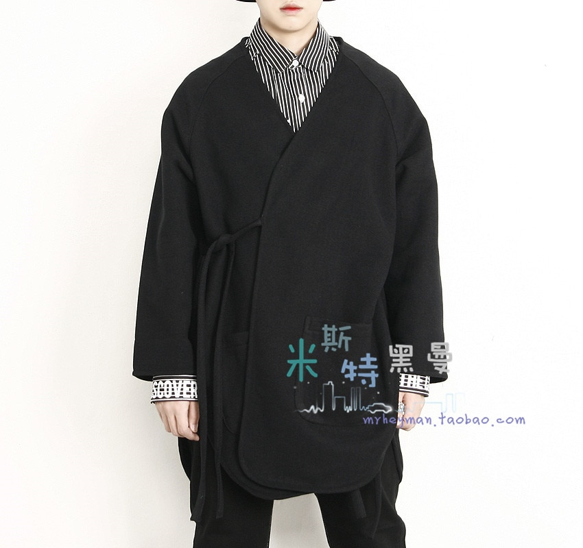 Qiu dong fastens woollen kimono cocoon shape coat individual character side fork does not buckle loose cardigan windbreaker