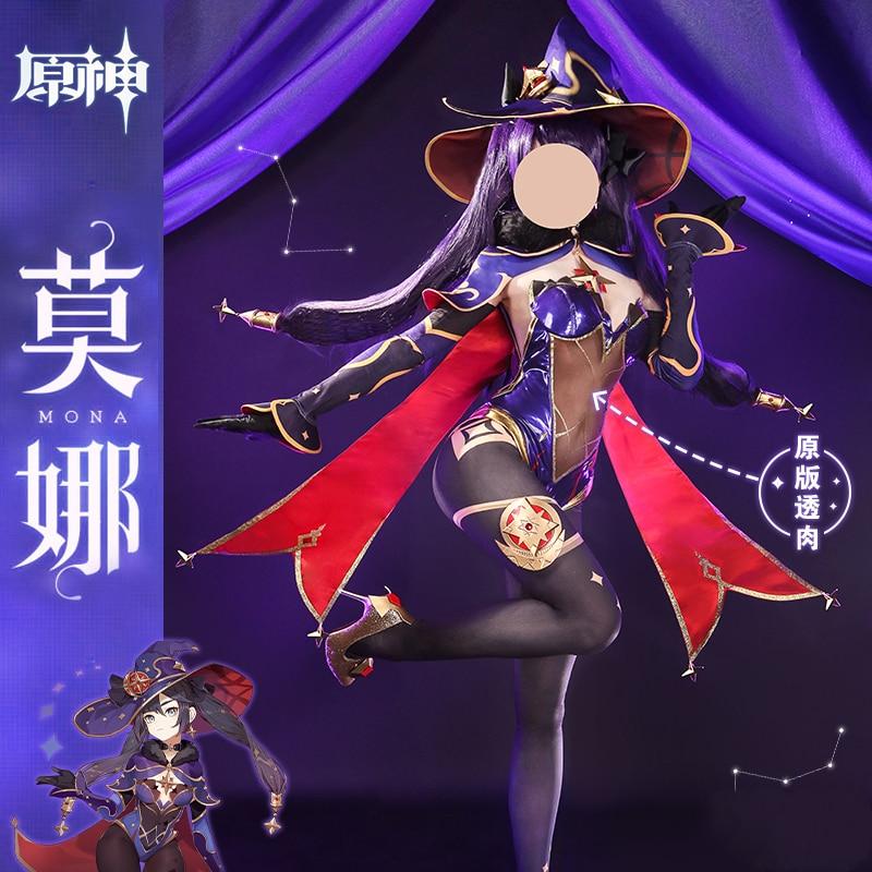 زي قتال الرسوم المتحركة Genshin Impact Mona للسيدات ، زي ساحر جميل ، قبعة ، كوسبلاي ، زي الهالوين ، شحن مجاني
