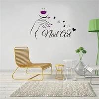 Autocollant Mural en vinyle pour manucure  decoration dinterieur  Salon de beaute  mode fille  femmes  DW10569