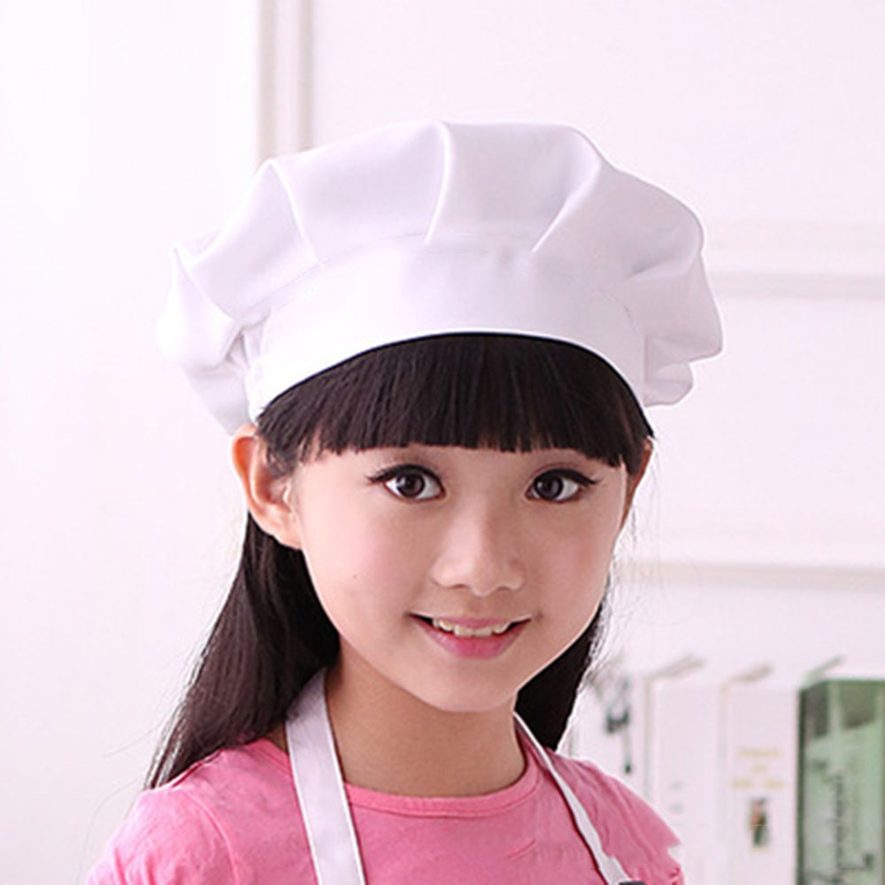Baby Kid White Chef Hat  Kitchen Children Toy Cooking Play Supplies Set Chef Set  Elastic Cap For Pa