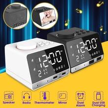 Led Digitale Dual Alarm Spiegel Klok Draadloze Bluetooth Bass Speaker Fm Radio + 2 Usb Charger Poorten Muziekspeler Snooze temperatuur