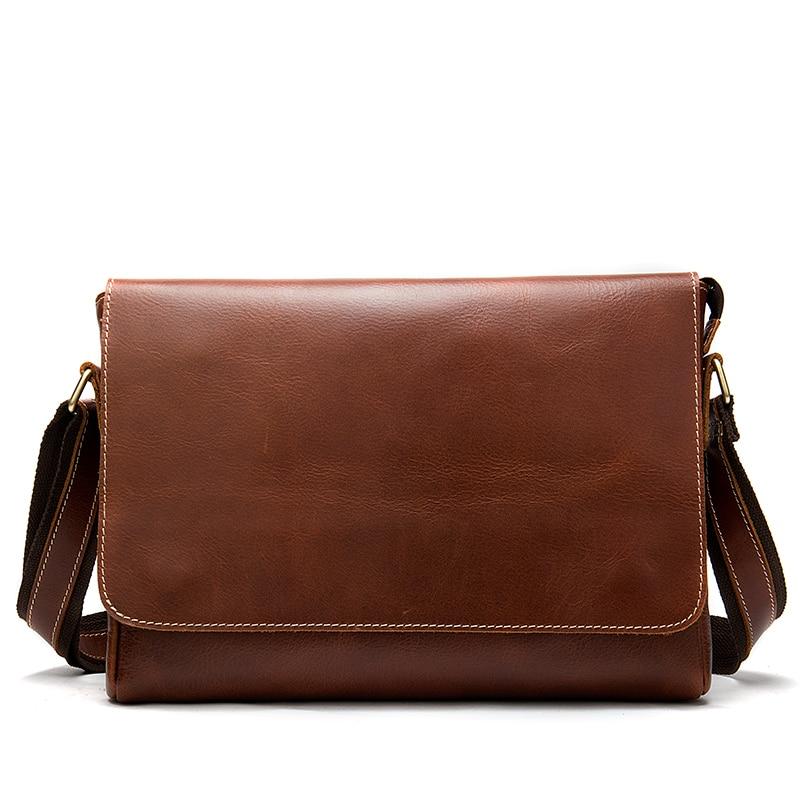 Crazy Horse Leather Men's Briefcases Laptop Bag Office Bags for Men Cover Messenger Bags Men's Leather Bag Computer Bags