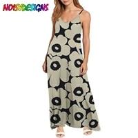 noisydesigns grey poppy flower pattern printing dress women chic spaghetti straps sexy long dresses for women roupas femininas