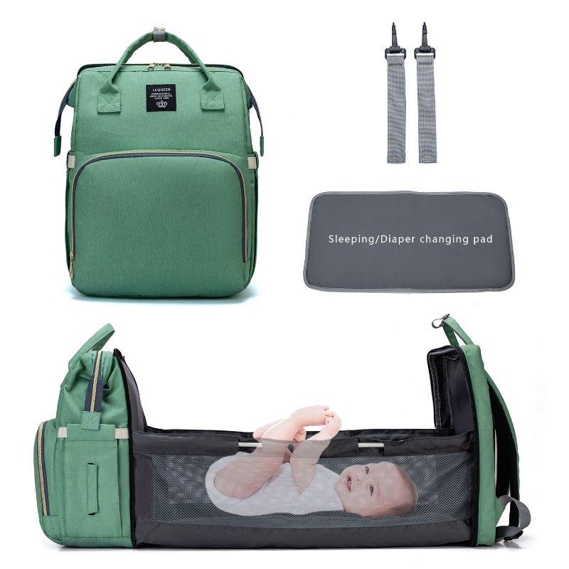 2 в 1 складной рюкзак из ткани Оксфорд для кроватки, многофункциональная сумка для подгузников большой вместимости, сумка для мам на молнии, ...