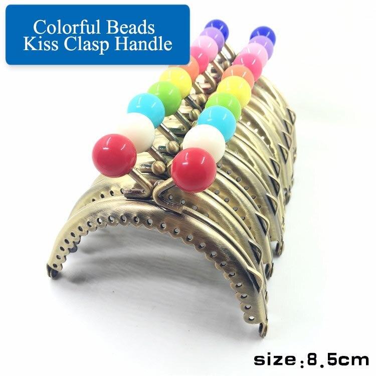 10 pçs deepeel 8.5cm latão semicírculo colorido grânulos beijo fecho alça metal bolsa quadro diy artesanal bolsa acessório de costura