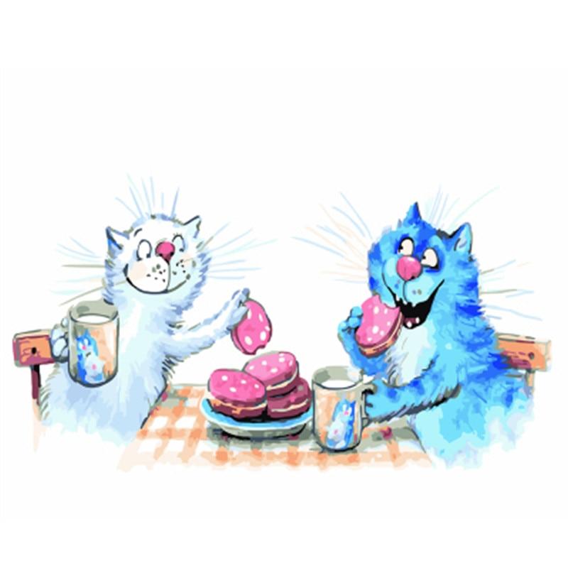 Cuadro con marco de gato de DRAWJOY, pintura DIY por números, cuadro colorido, decoración del hogar para sala de estar, regalos únicos a mano GX22587