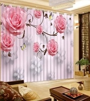 luxury blackout 3d window curtains for living room bedroom flower curtains