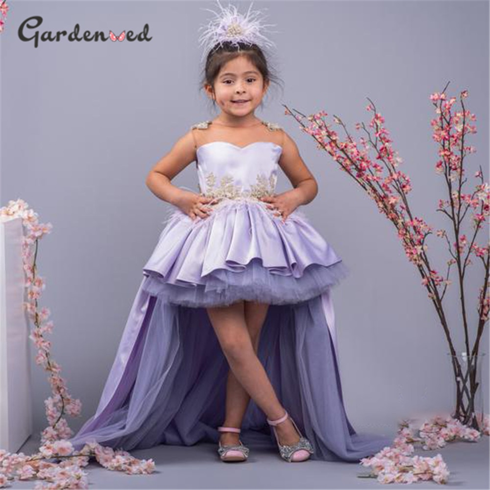 Lilac Hi Low Flower Girl Dress Puffy Princess Dresses For Girls Cute Little Girl Party Dress Embroidery First Communion Gown