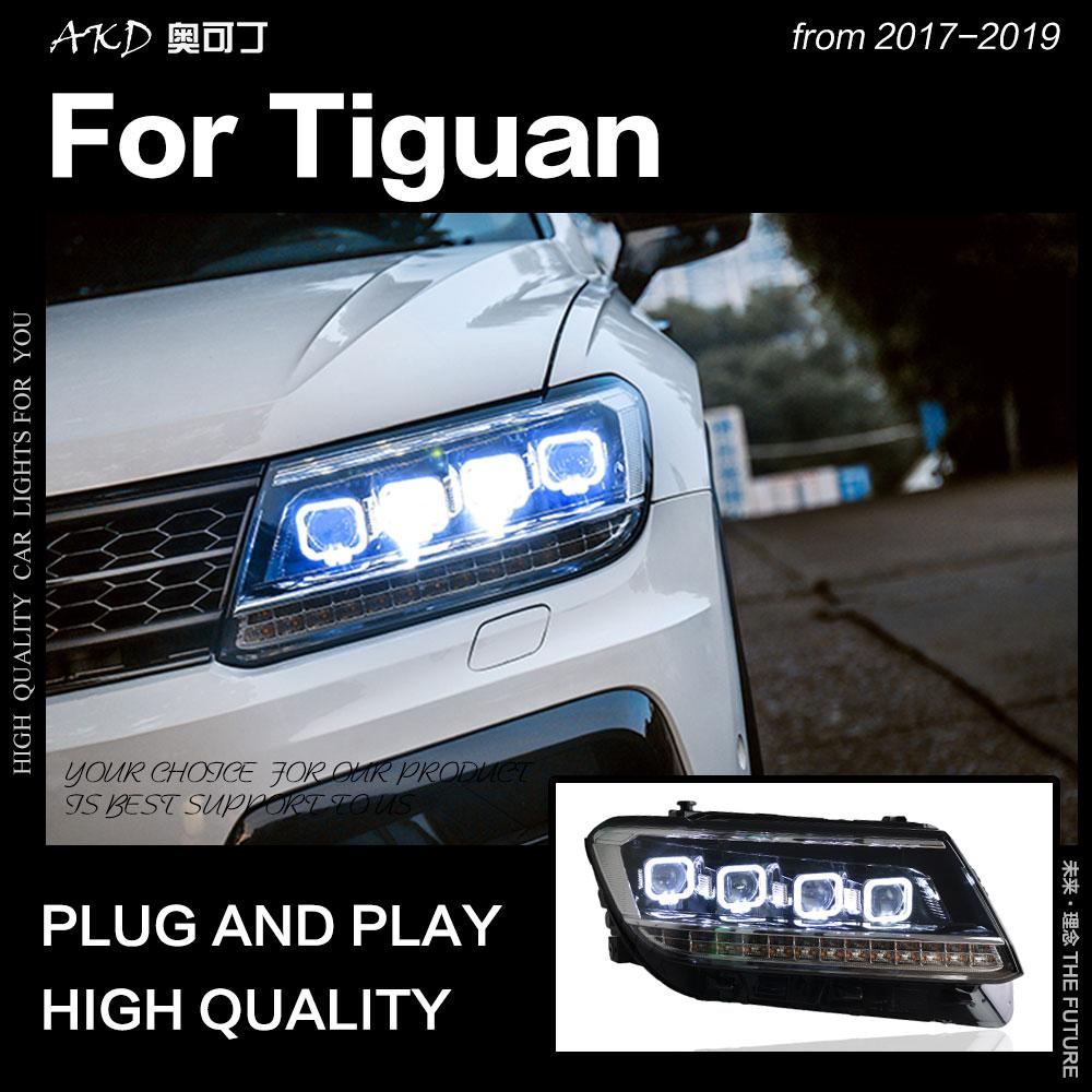 AKD estilo de coche lámpara de cabeza para faros VW Tiguan 2017-2019 nuevo Tiguan LED faro DRL todos fuente de luz LED Accesorios