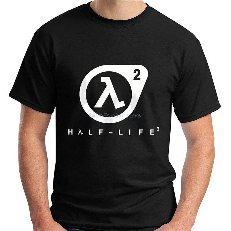 Новинка, Черная Мужская футболка с коротким рукавом и логотипом Half Life 2, S-5XLFree доставка, светильник, футболка