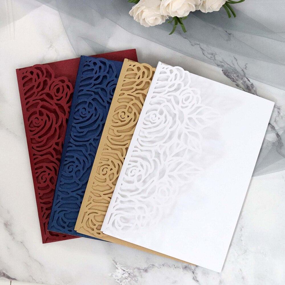 10Pcs Wedding Invitation Cards Floral Laser Cut Paper Cover Craft Envelopes Set