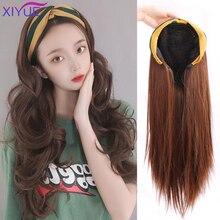 XIYUE шапка с волосами, длинные волнистые накладные волосы, парик, синтетические волосы для наращивания, шапка с волосами, натуральные волосы ...