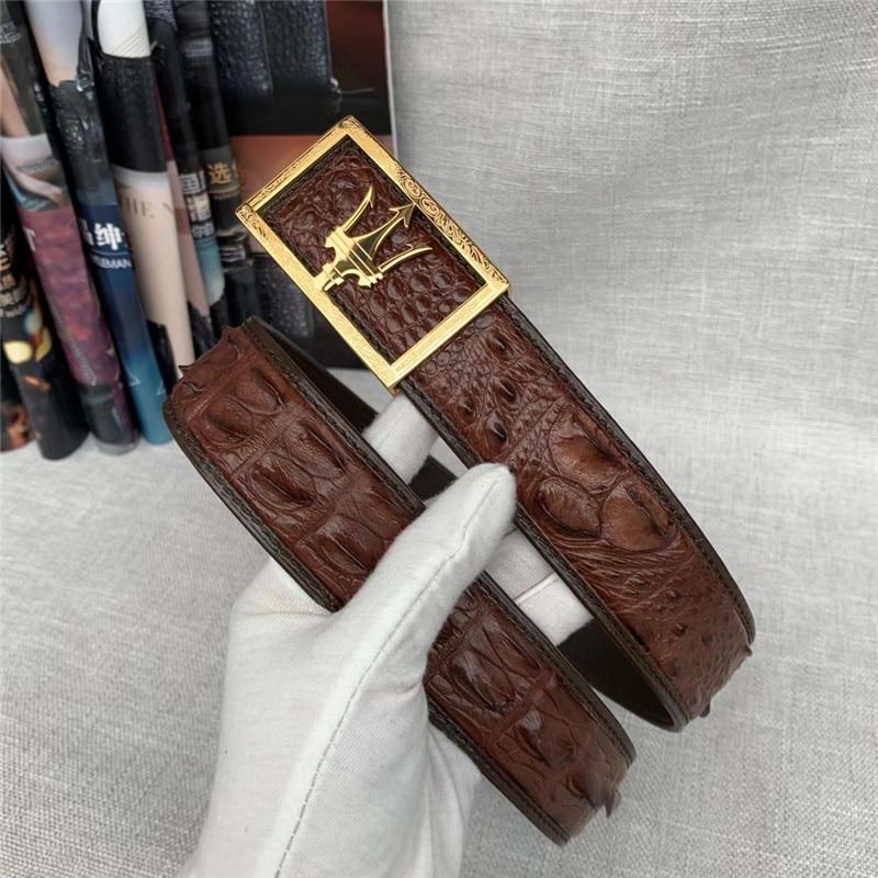 أحزمة جلد التمساح الأصلية للرجال ، مشبك دبوس من الفولاذ المقاوم للصدأ ، جلد التمساح الأصلي