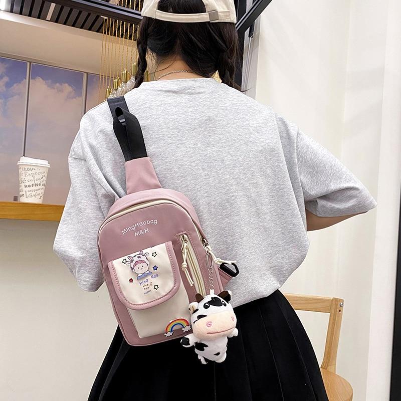 SPS Child Nylon Chest Bag for Kids Hip-Hop Style Light Durable Versatile Small Bags for Boys and Girls