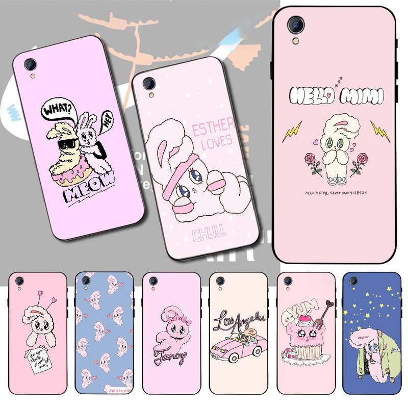 NBDRUICAI Rosa coreano chuu esther kim conejo de silicona suave cubierta de la caja del teléfono para Vivo Y91c Y17 Y51 Y67 Y55 Y93 Y81S Y19 Y7S caso