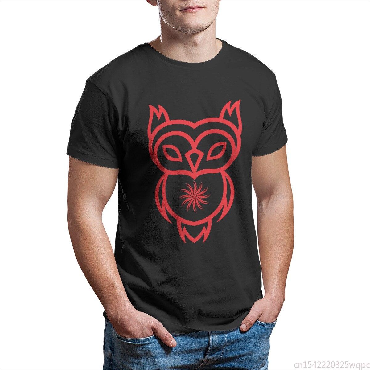 Camiseta de búho con corazón de Sol para hombre de ropa negra...