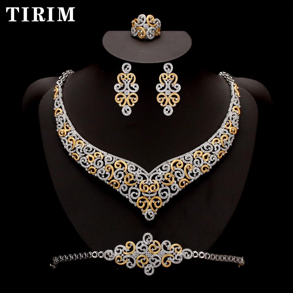 TIRIM 4 قطعة كبيرة الفاخرة مجموعات AAA مكعب زركونيا مجوهرات للنساء الزفاف و الخطوبة حزب أفريقيا الشرق الأوسط دبي الأزياء
