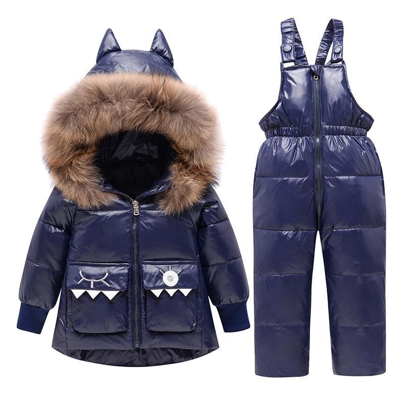 Russia Winter Children's Clothing Sets Girls Duck Down Jacket Coats Boys Ski Suit Clothes Toddler Parka Kids Snowsuit 2-6Year
