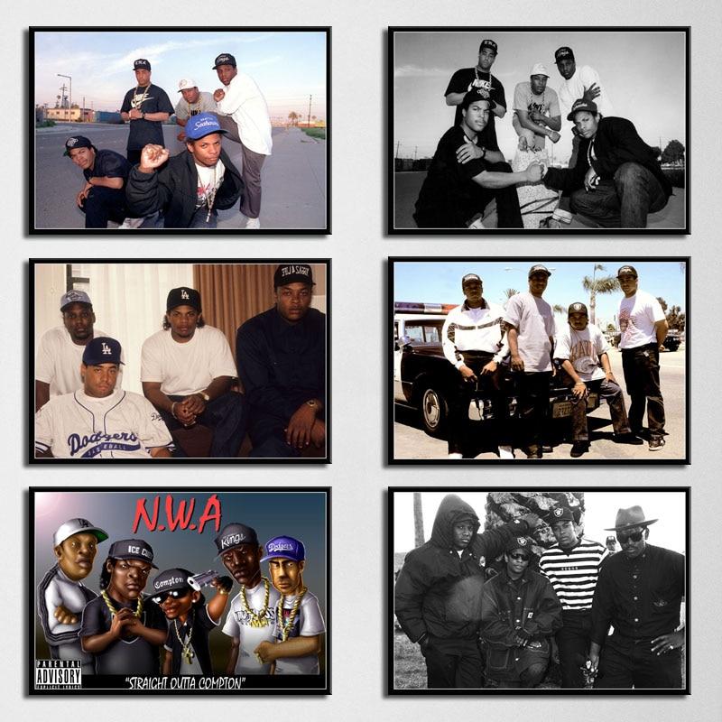 N.W.A Hip Hop Musik Rap Star Ice Cube Dr. dre Eazy-E Alte Schule Kunst Malerei Silk Leinwand Poster Wand Wohnkultur obrazy plakat