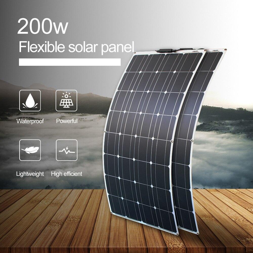Gran oferta, panel solar de 16v, 200w, 100 vatios, paneles solares flexibles para cargador de batería de 12v, celda monocristalina