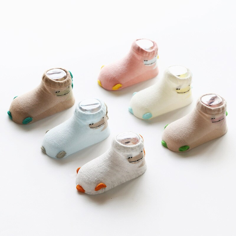 3Pairs/Lot Baby Socks Summer Thin Floor Mesh Cotton Breathable Non-Slip Children