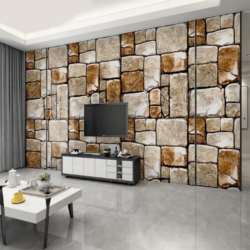 Mural Wallpaper 3d Modern  Wood Block Grain Stone Marble Brick Wallpapers For Bedroom Walls