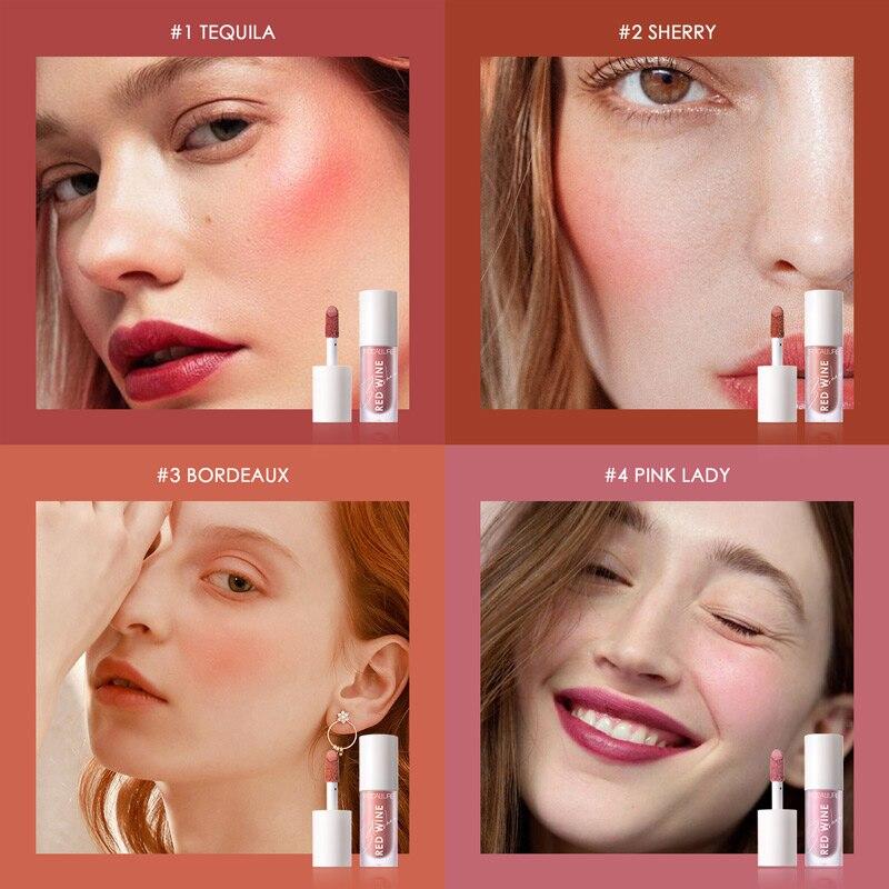 FOCALLURE 4 Colors Facial Blush Makeup Liquid Blush Waterproof Long Lasting Natural Face Blush Cream