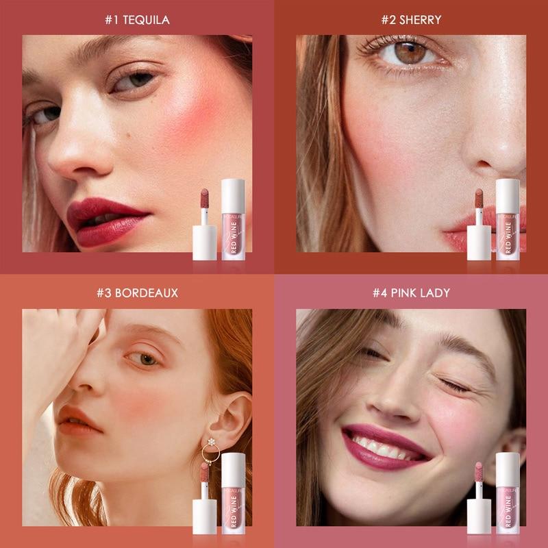 FOCALLURE-rubor Facial, 4 colores, maquillaje líquido, rubor, resistente al agua, duradero, cara Natural, crema de rubor