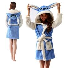 Blue Stitch Bath Robe Hooded Women Bathrobe Cartoon Homewear Animal Warm Flannel Dressing Gown Soft