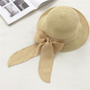 Straw hat female summer sun hat elegant outing sun hat bow fisherman hat Japanese light and breathable sun hat women hats