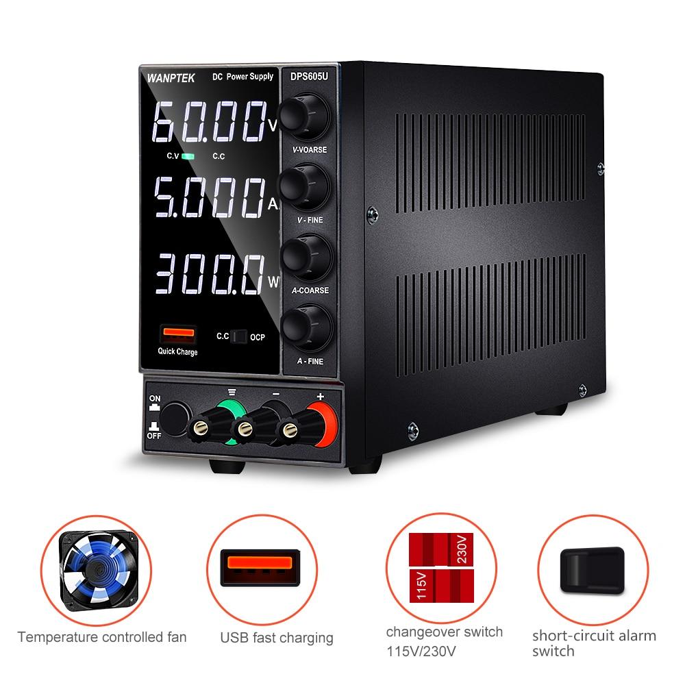 Wanptek DPS605U مختبر تيار مستمر امدادات الطاقة قابل للتعديل led أرقام مقعد مختبر مصدر الطاقة 60 فولت 30 فولت 5A الجهد المنظم التبديل لتقوم بها بنفسك
