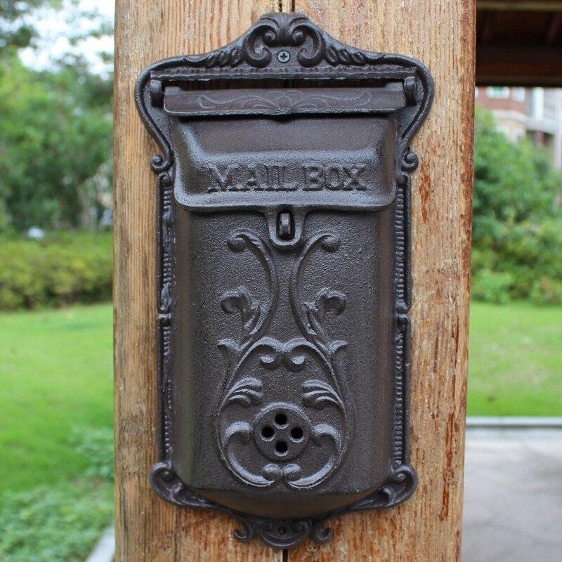 Decoración Vintage europea para el jardín del hogar, tamaño mediano, fuerte caja de correo montada en pared de hierro fundido resistente