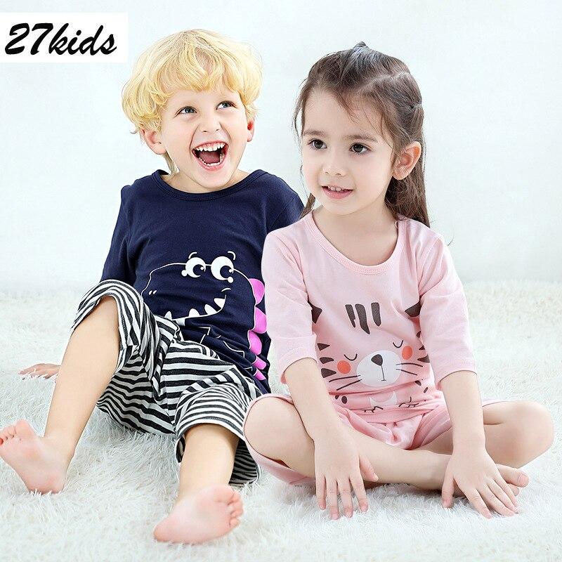 27 crianças meninos pijamas topo e meninas pijamas para 2-9 anos roupa em casa terno crianças pijamas tecido de algodão e padrão dos desenhos animados