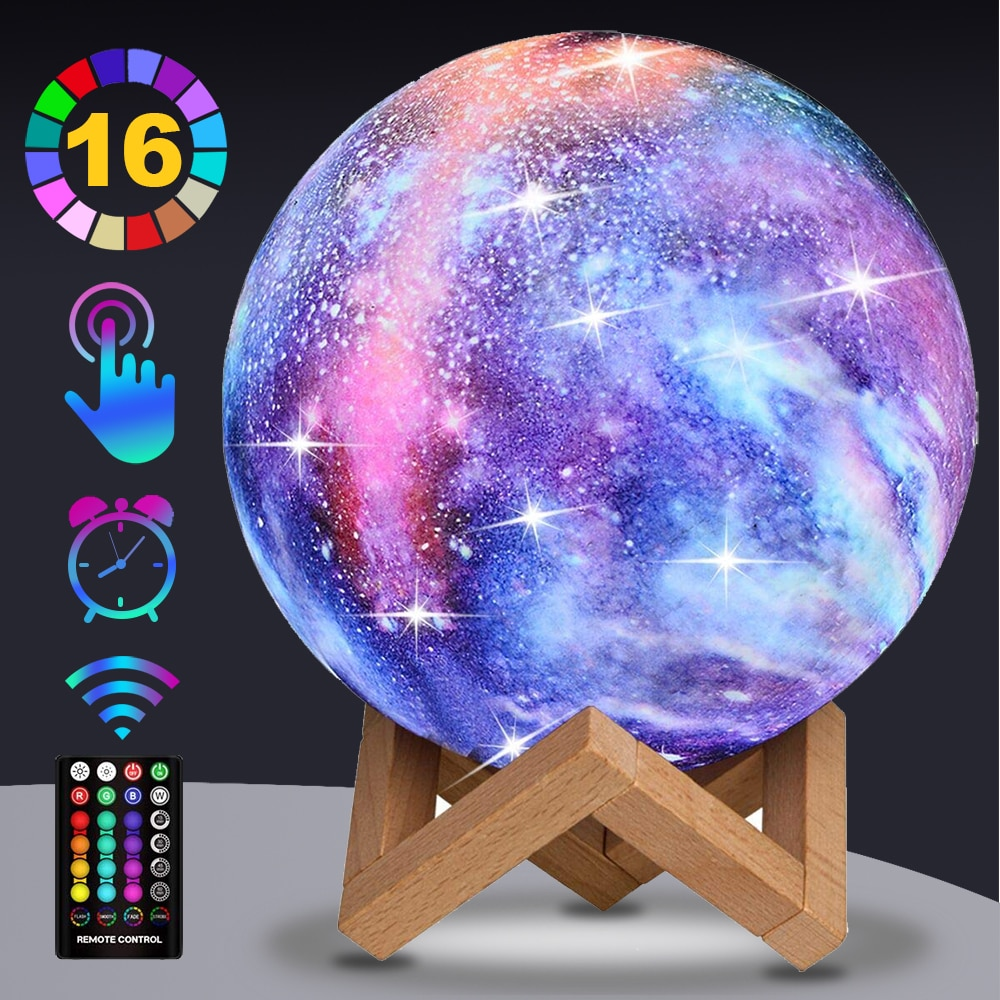 Moon Lamp 16 Colors Galaxy Light 3D Printing Starry Moon Night Light with Stand/Time Set/Touch/Remot