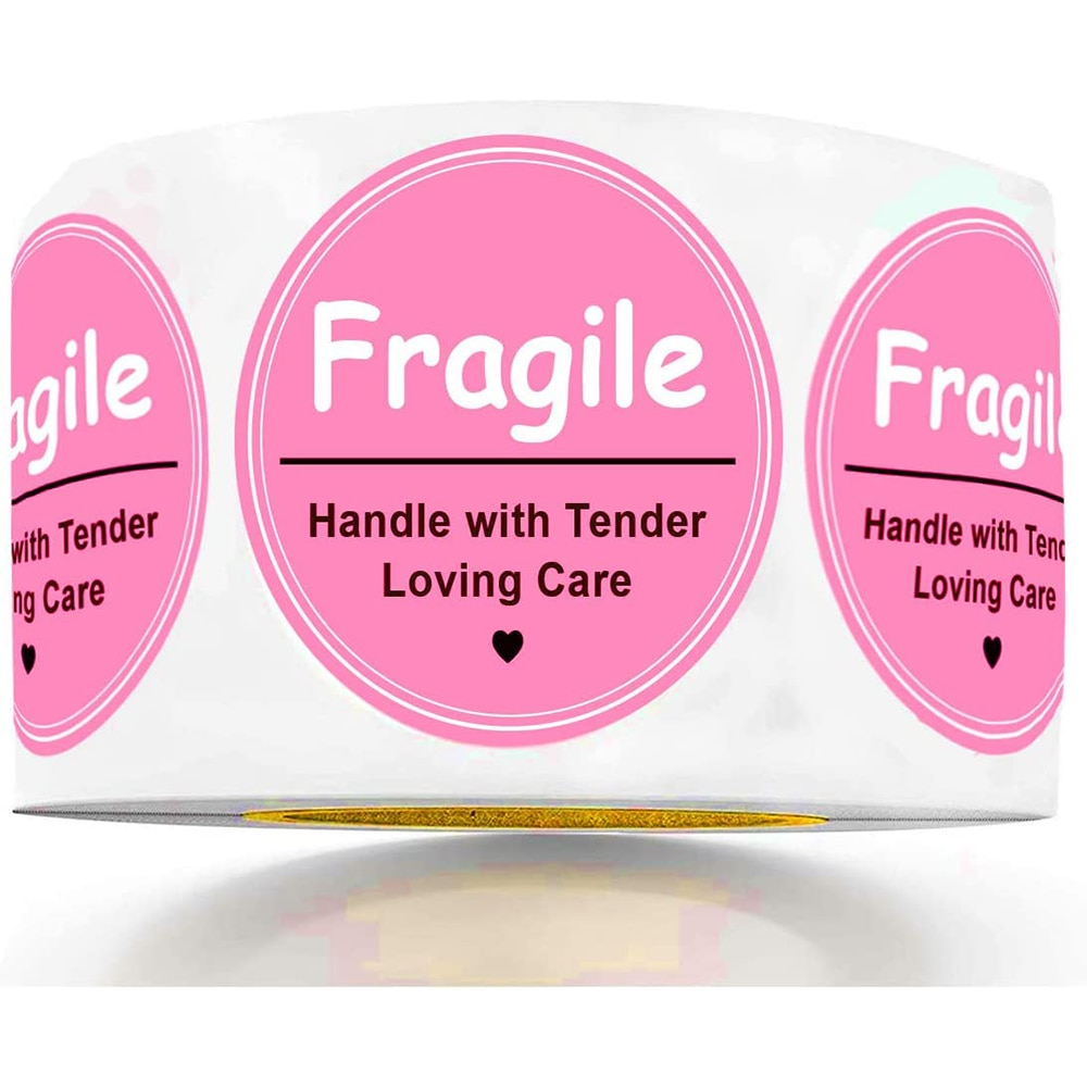 500pcs FRAGILE Handle With Care Shipping Label Sticker 2 inch Fragile Warning Sticker For Personal Gift Bag Box Shipping
