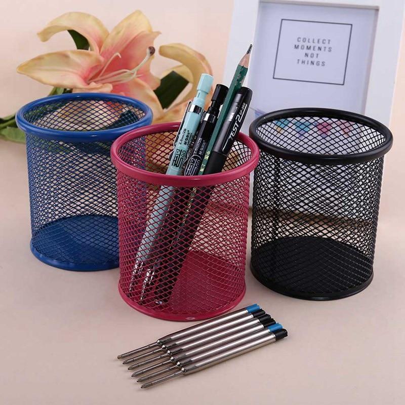 Caneta titular mesa de escritório metal malha caneta suporte lápis papelaria titular organizador de mesa de armazenamento caso de lápis
