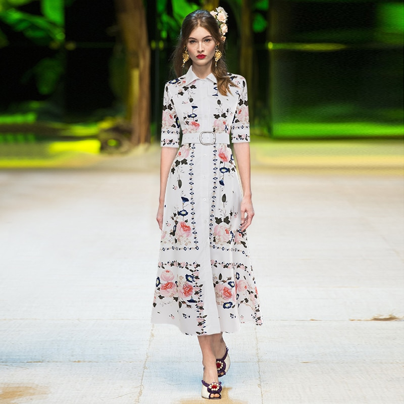 Gedivoen Summer Fashion Runway Midi Dress Women Floral Print Sashes Slim Fit Plus Size High Street Party Shirt Dress