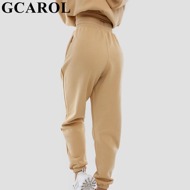 GCAROL Autumn Winter Women High Elastic Waist Harem Pants 80% Cotton Fleece Warm Candy Oversized Boyfriend Sport Pants