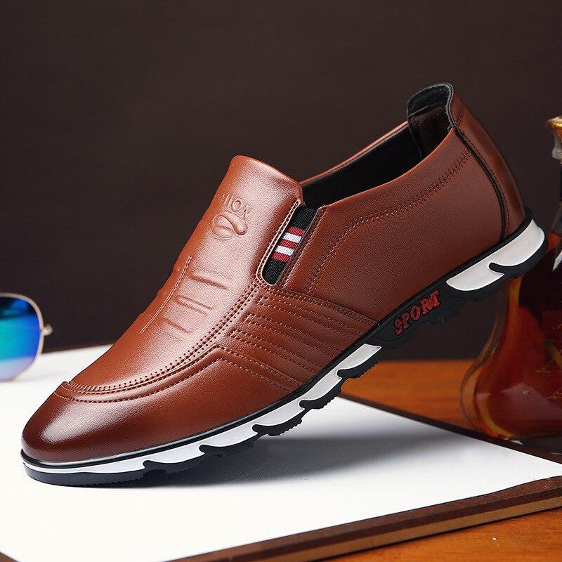 Masculinos de Couro Deslizamento em Preto Sapatos de Condução Sapatos Casuais Genuíno Marca Mocassins Respirável Tamanho Grande Sdf34