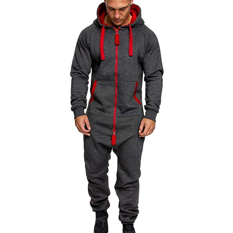 Mens Pure Color Splicing Jumpsuit Men One-piece Garment Pajama Playsuit Zipper Hoodie Male Onesie Jumpsuits Overalls Hombre 2020